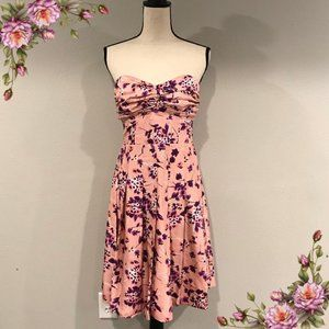 EXPRESS Silk Floral Pleated Strapless Party Dress